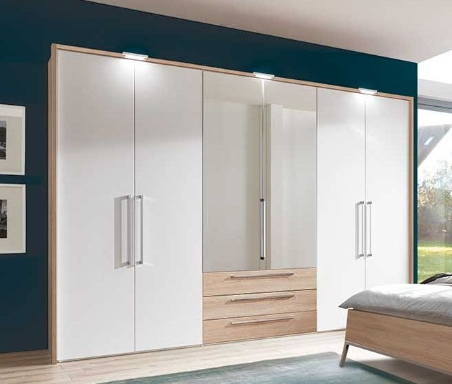 Nolte Horizont 8000 Imitation Icona Beech with Polar White 6 Door 3 Drawer Hinged Wardrobe - W 240cm x H 200cm