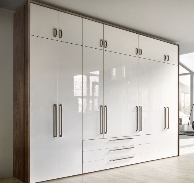 Nolte Horizont 8000 Imitation Macadamia Nutwood with White High Gloss 8 Door 3 Drawer Hinged Wardrobe - W 320cm x H 248cm