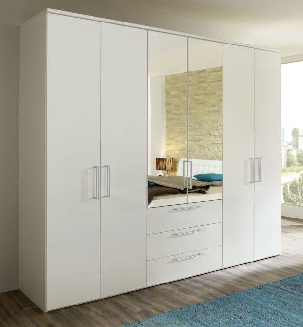 Nolte Horizont 8000 Polar White 6 Door 3 Drawer Hinged Wardrobe - W 240cm x H 200cm
