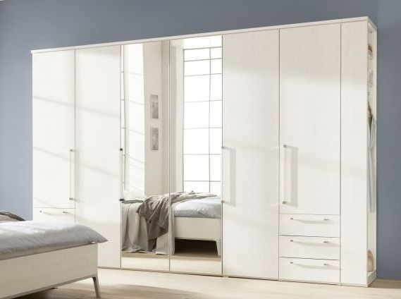 Nolte Horizont 8000 Polar White 6 Door 6 Drawer Hinged Wardrobe with Coat Rack - W 240cm x H 225cm