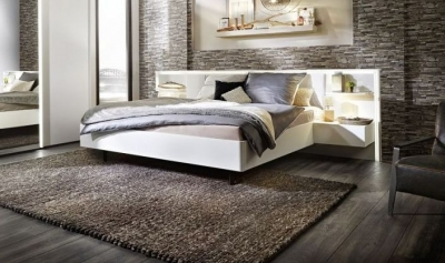 Nolte Ipanema 50cm Wide Glass Bed Frame with Integrated Bedside