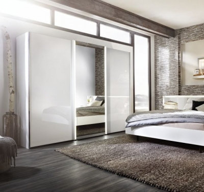 Nolte Ipanema Glass and Mirror Sliding Wardrobe with LED Light Band