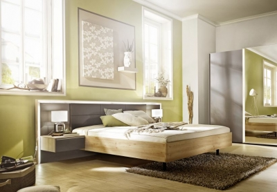 Nolte Ipanema Imitation Icona Beech with Leather Imitation Brown Velvet Bed Frame 1 - W 140cm