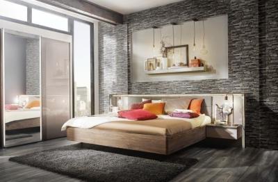 Nolte Ipanema Imitation Macadamia Nutwood with Leather Imitation Brown Velvet Bed Frame 1 - W 180cm