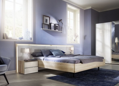 Nolte Ipanema Imitation Sonoma Oak with Leather Imitation White Bed Frame 2 - W 180cm