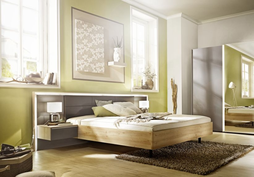 Nolte Ipanema Imitation Icona Beech with Leather Imitation Brown Velvet Bed Frame 1 - W 180cm
