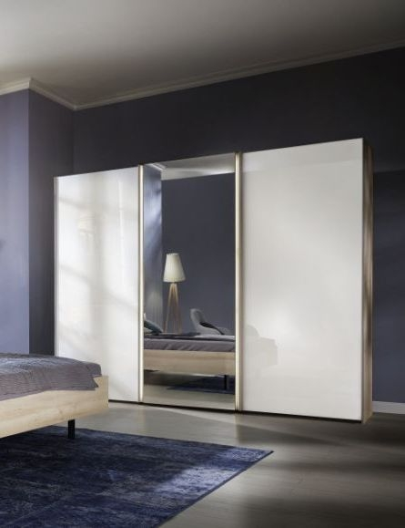 Nolte Ipanema Imitation Icona Beech with White Glass and Crystal Mirror 2 Door Sliding Wardrobe - W 200cm