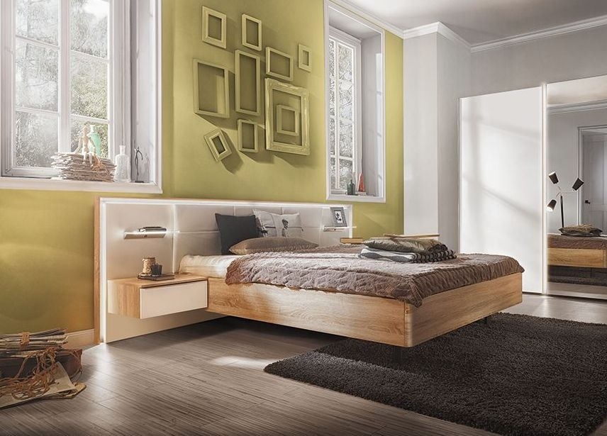 Nolte Ipanema Imitation Macadamia Nutwood with Leather Imitation White Bed Frame 1 - W 140cm
