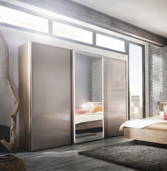 Nolte Ipanema Imitation Sonoma Oak with Brown Velvet Glass and Crystal Mirror 3 Door Sliding Wardrobe - W 300cm