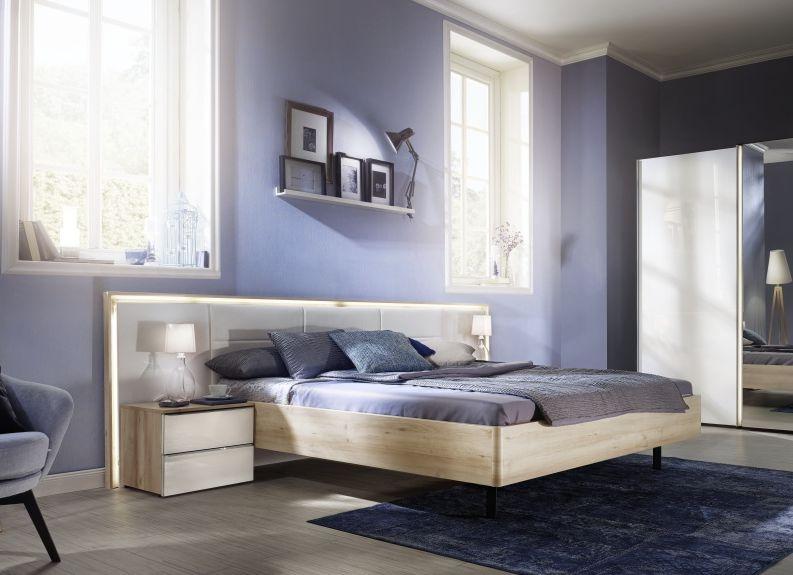 Nolte Ipanema Imitation Sonoma Oak with Leather Imitation White Bed Frame 2 - W 140cm