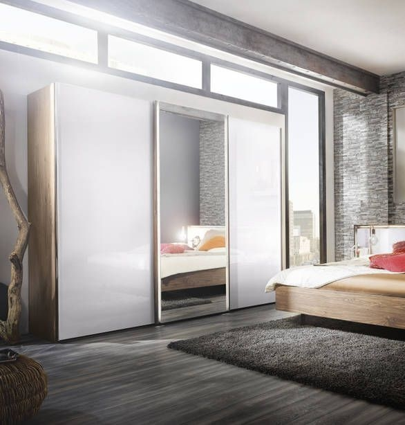 Nolte Ipanema Imitation Sonoma Oak with Polar White and Crystal Mirror 2 Door Sliding Wardrobe - W 200cm