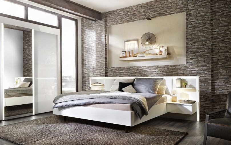 Nolte Ipanema Polar White with Leather Imitation White Bed Frame 1 - W 180cm