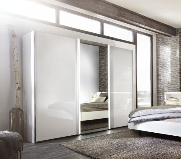 Nolte Ipanema Polar White with White Glass and Crystal Mirror 2 Door Sliding Wardrobe - W 200cm