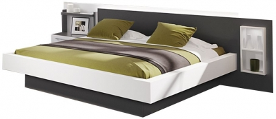 Nolte Lanova Polar white with Graphite Angular Bed Frame 1A Left - W 140cm