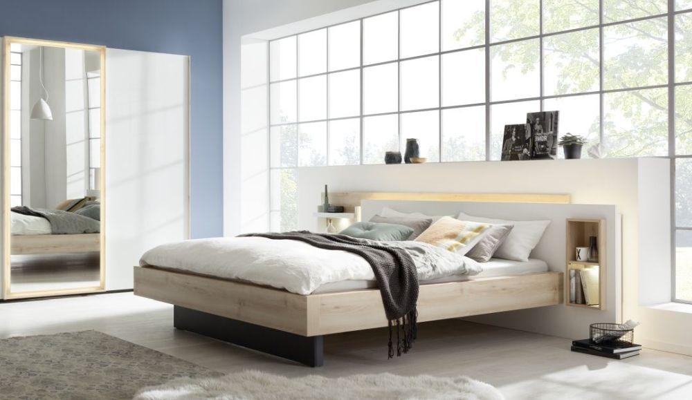 Nolte Lanova Imitation Icona Beech with Polar White Angular Bed Frame 1A Right - W 180cm