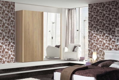 Nolte Limone Wood and Mirror Sliding Wardrobe