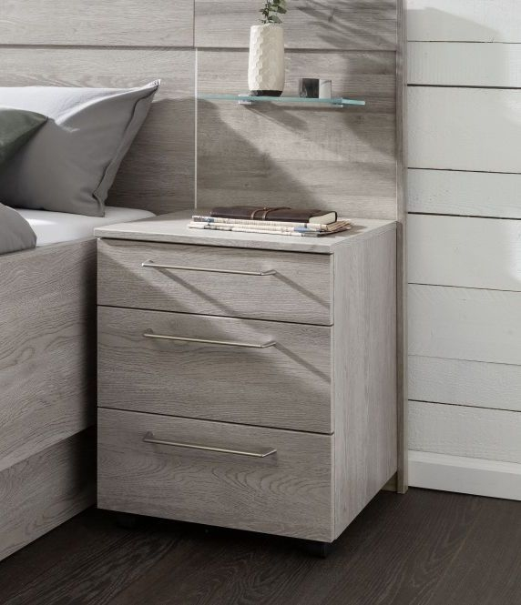 Nolte Livia Imitation Platinum Oak 3 Drawer Bedside Chest - W 40cm x H 55cm