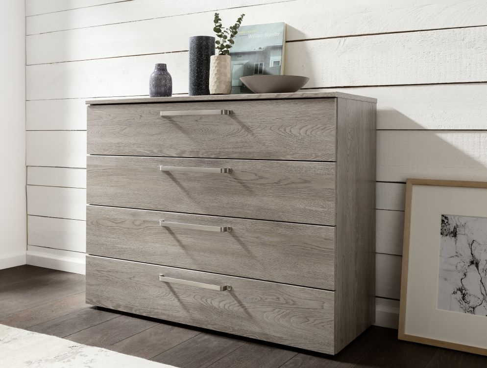 Nolte Livia Imitation Platinum Oak 4 Drawer Chest - W 100cm