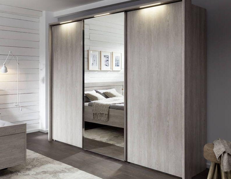 Nolte Livia Imitation Platinum Oak with Crystal Mirror 3 Door Sliding Wardrobe - W 270cm