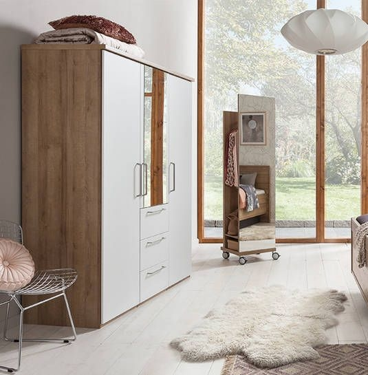 Nolte Livia Imitation Riviera Oak with Polar White and Crystal Mirror 3 Door 3 Drawer Hinged Wardrobe - W 150cm