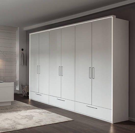 Nolte Livia Polar White 6 Door 3 Drawer Hinged Wardrobe - W 300cm
