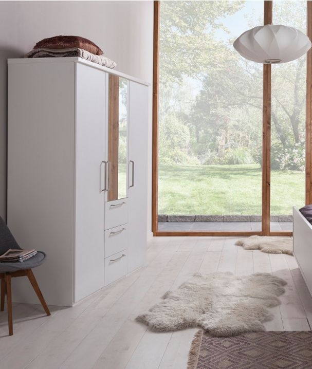 Nolte Livia Polar White with Crystal Mirror 3 Door 3 Drawer Hinged Wardrobe - W 150cm