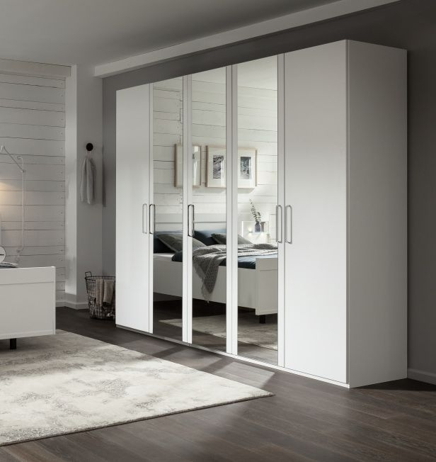 Nolte Livia Polar White with Crystal Mirror 5 Door Hinged Wardrobe - W 250cm