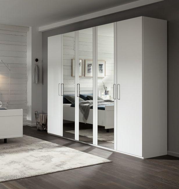 Nolte Livia Polar White with Crystal Mirror 5 Door Hinged Wardrobe - W 250cm