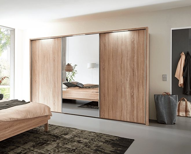 Nolte Marcato Version 1B Imitation Icona Beech with Crystal Mirror 3 Door Sliding Wardrobe - W 300cm