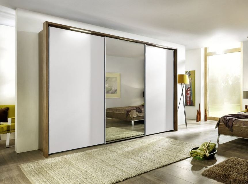 Nolte Marcato Version 1B Imitation Macadamia Nutwood with Polar White and Crystal Mirror 3 Door Sliding Wardrobe - W 240cm