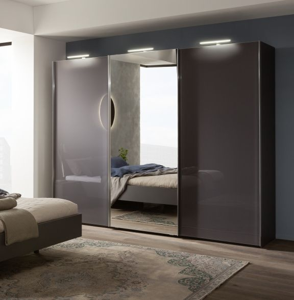 Nolte Marcato Version 1C Graphite Glass and Crystal Mirror 3 Door Sliding Wardrobe - W 240cm