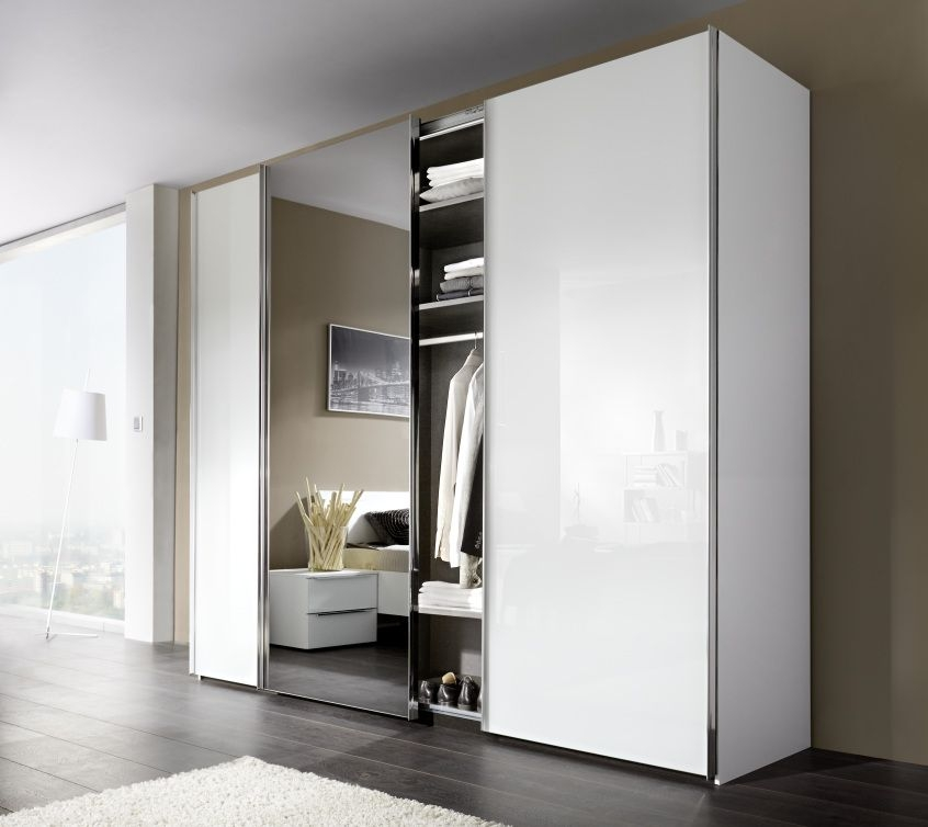 Nolte Marcato Version 1C Polar White with White Glass and Crystal Mirror 3 Door Sliding Wardrobe - W 300cm
