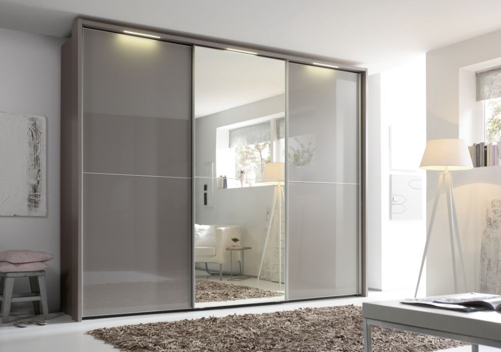 Nolte Marcato Version 2C Brown Velvet Glass and Crystal Mirror 3 Door Sliding Wardrobe with Pelmets and Lighting Passe Partout - W 300cm