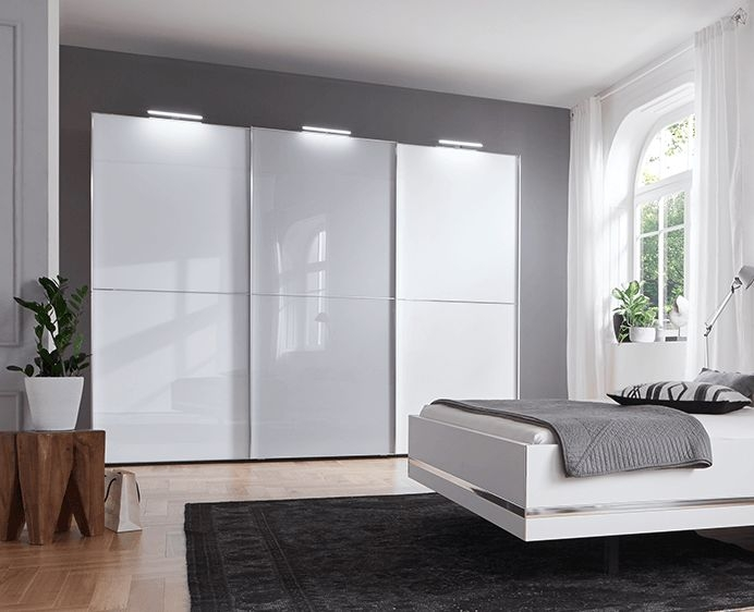 Nolte Marcato Version 2C Polar White with White Glass and Glass Silk Grey 3 Door Sliding Wardrobe - W 240cm