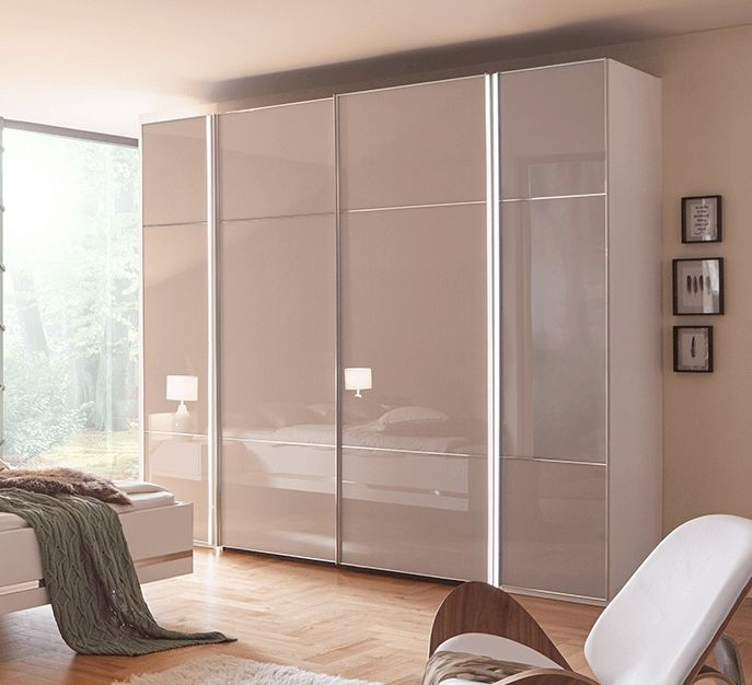 Nolte Marcato Version 3 Brown Velvet Glass 4 Door Sliding Wardrobe - W 262cm