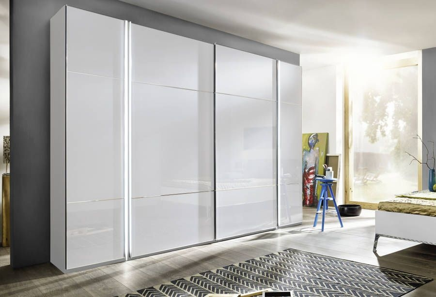 Nolte Marcato Version 3 Polar White with White Glass 4 Door Sliding Wardrobe - W 262cm