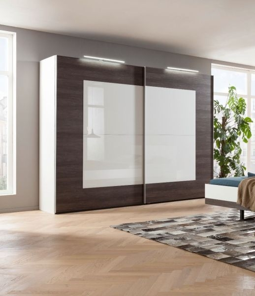 Nolte Novara Polar White with Imitation Dark Chocolate Oak and White Glass 2 Door Sliding Wardrobe - W 280cm