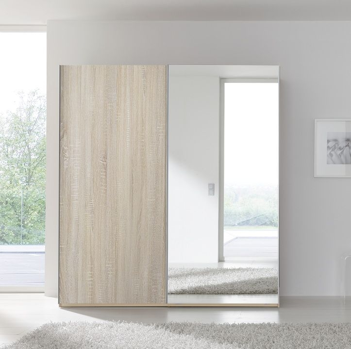 Nolte Samia Imitation Sonoma Oak With Crystal Mirror 2 Door Sliding  Wardrobe   W 160cm