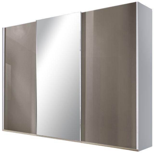 Nolte Samia Polar White with Brown Velvet Glass and Crystal Mirror 3 Door Sliding Wardrobe - W 240cm