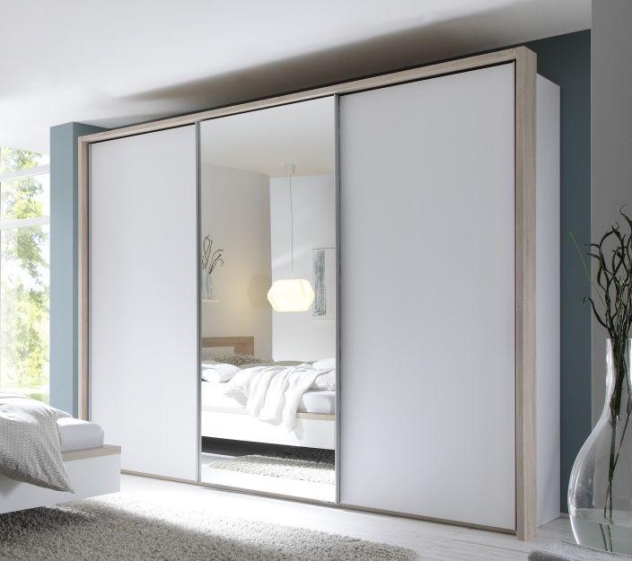 Nolte Samia Polar White with Crystal Mirror 3 Door Sliding Wardrobe with Passe Partout without Lighting W 300cm
