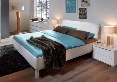 Nolte Sonyo Plus Bedframe 1 with Curved Head Panel with Horizontal Trim