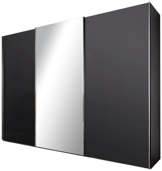 Nolte Velia 1 Version 2 Graphite with Grey Mirror 2 Door Sliding Wardrobe - W 160cm