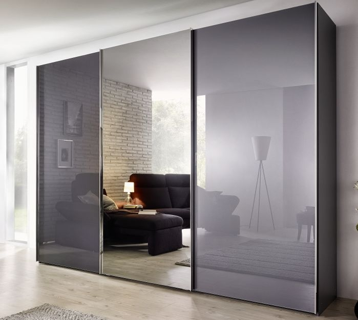 Nolte Velia 1 Version 3A Graphite Glass with Grey Mirror 2 Door Sliding Wardrobe - W 160cm