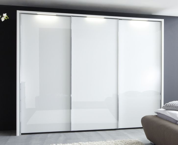 Nolte Velia 1 Version 3A Polar White with White Glass 2 Door Sliding Wardrobe - W 180cm