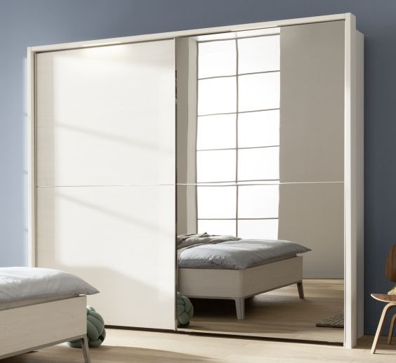 Nolte Velia 2 Version 2 Polar White with Frosted Terra 2 Door Sliding Wardrobe - W 160cm