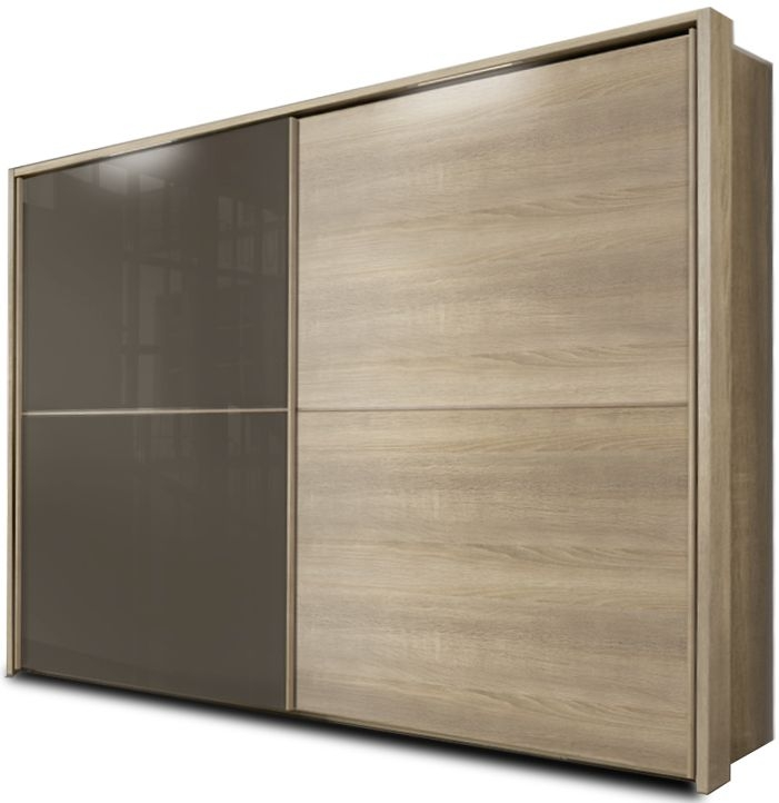 Nolte Velia 2 Version 3 Imitation Sonoma Oak with Brown Velvet Glass 2 Door Sliding Wardrobe - W 160cm