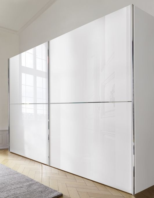 Nolte Velia 2 Version 3 Polar White with White Glass 2 Door Sliding Wardrobe - W 320cm