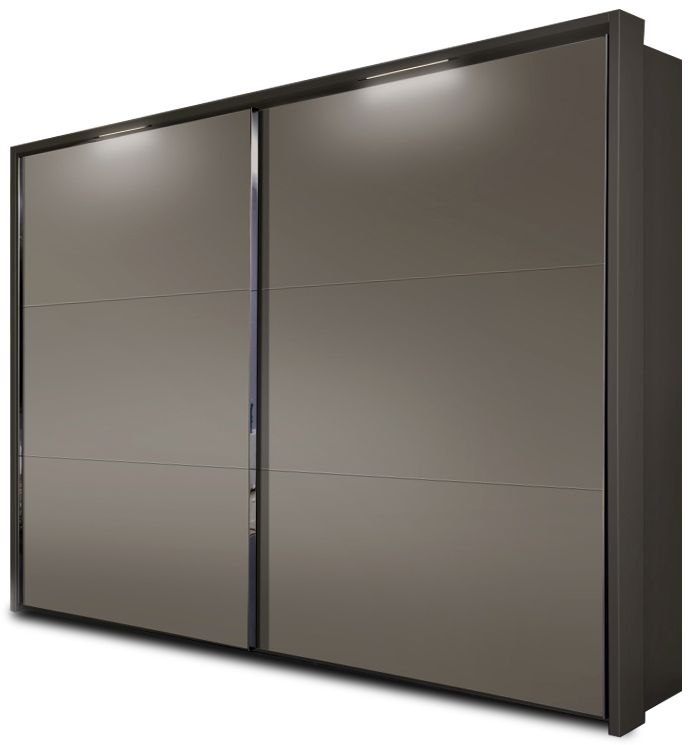 Nolte Velia 3 Version 1A Brown Velvet with Frosted Terra 2 Door Sliding Wardrobe with Pelmets and Lighting Passe Partout - W 160cm