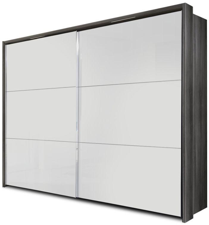 Nolte Velia 3 Version 1A Imitation Silver Oak with Polar White 2 Door Sliding Wardrobe with Pelmets and Lighting Passe Partout - W 160cm