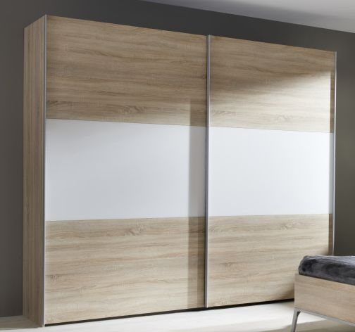 Nolte Velia 3 Version 1B Imitation Icona Beech with Polar White 2 Door Sliding Wardrobe - W 160cm